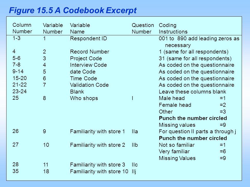 Figure 15.5 A Codebook Excerpt