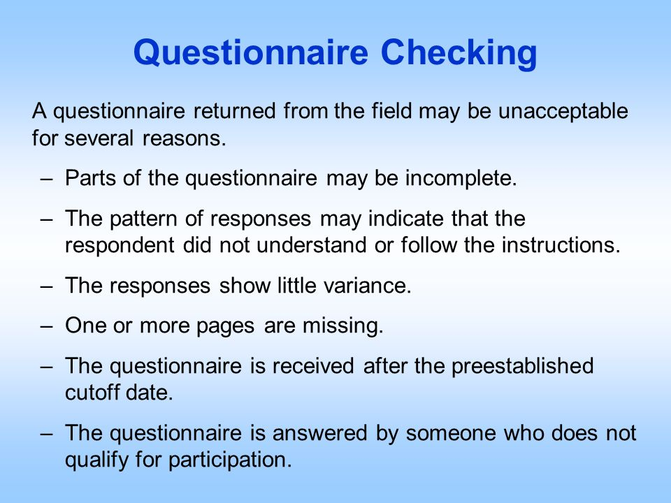 Questionnaire Checking