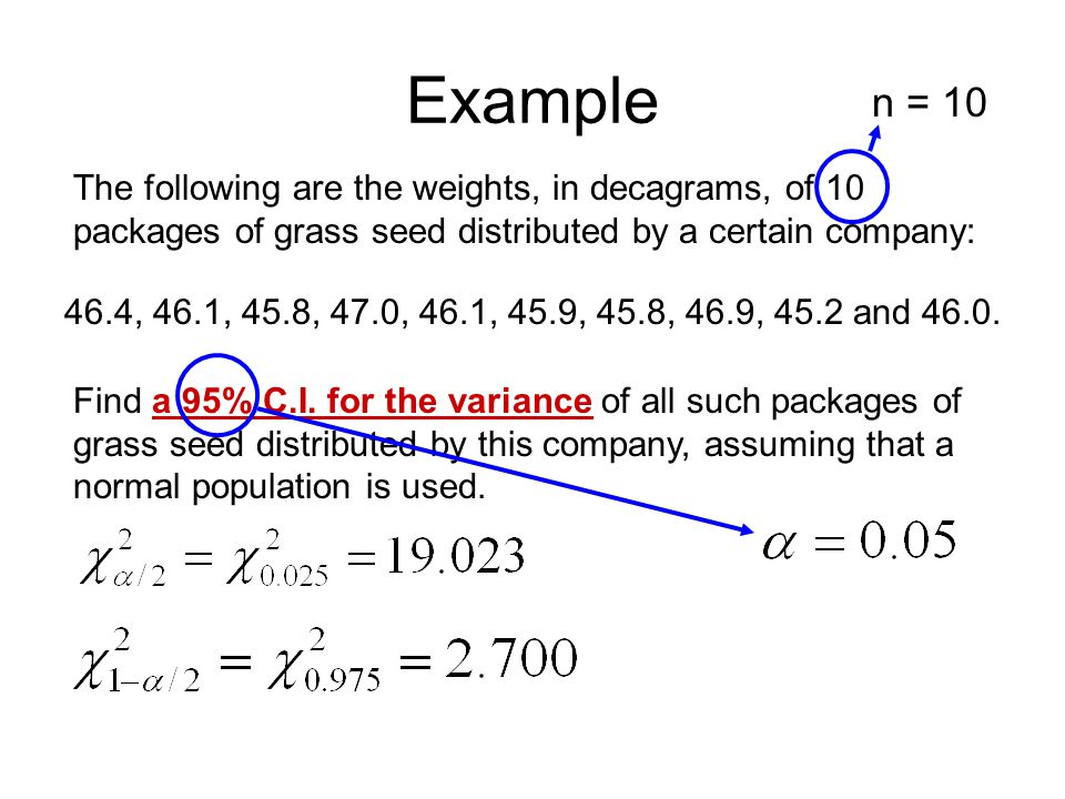 Example n = 10. The following are the weights, in decagrams, of 10 packages of grass seed distributed by a certain company:
