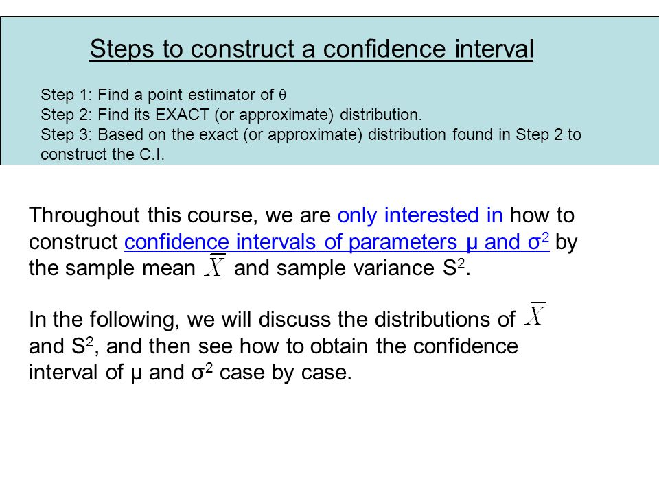 Steps to construct a confidence interval