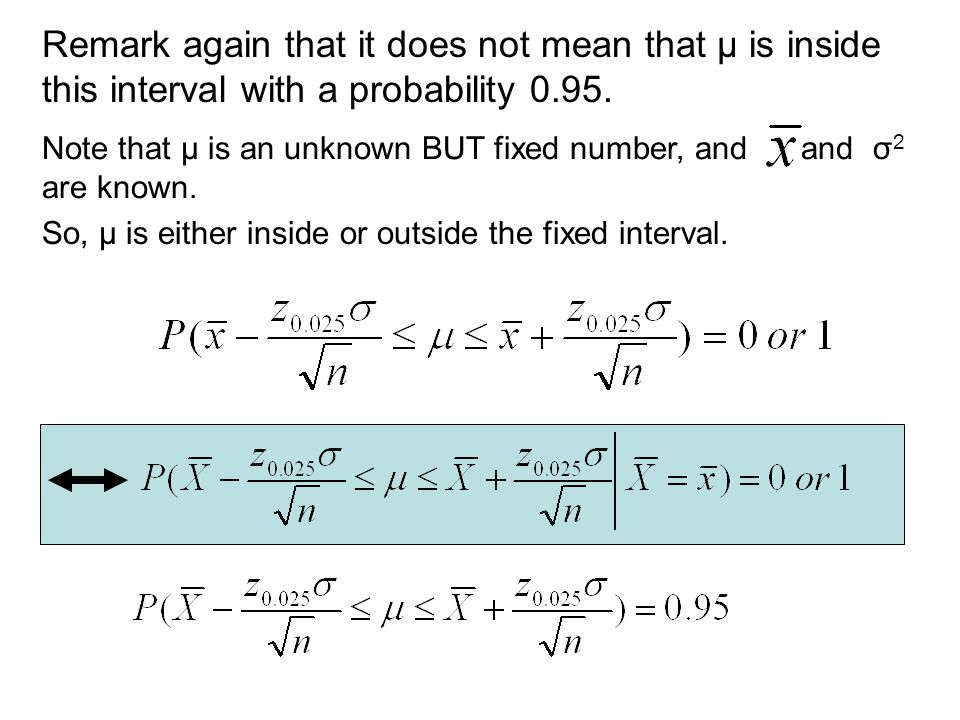 Remark again that it does not mean that μ is inside this interval with a probability 0.95.