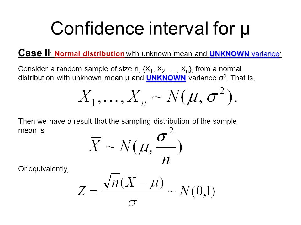 Confidence interval for µ