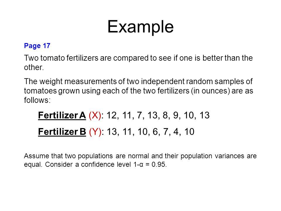 Example Fertilizer A (X): 12, 11, 7, 13, 8, 9, 10, 13