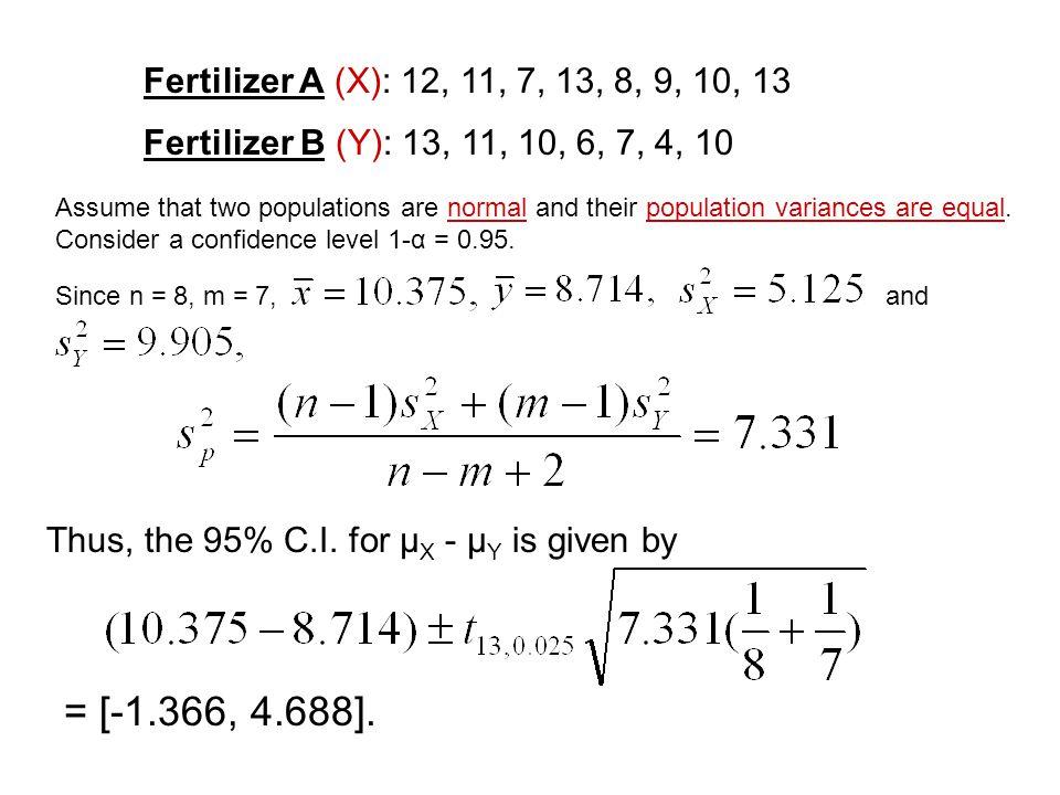 Fertilizer A (X): 12, 11, 7, 13, 8, 9, 10, 13 Fertilizer B (Y): 13, 11, 10, 6, 7, 4, 10.