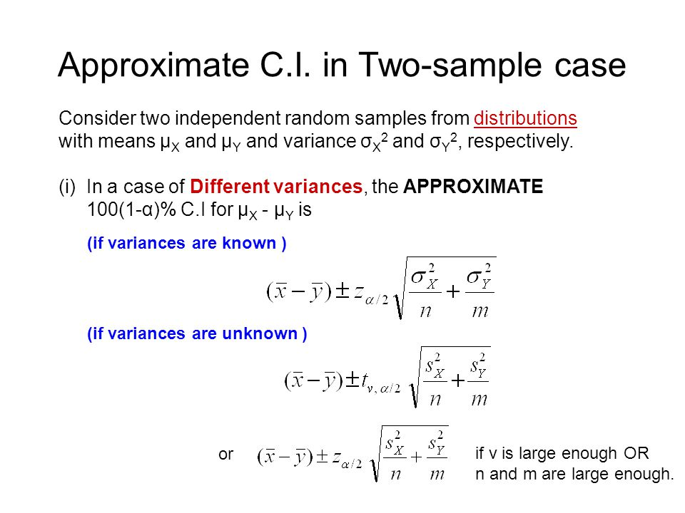 Approximate C.I. in Two-sample case