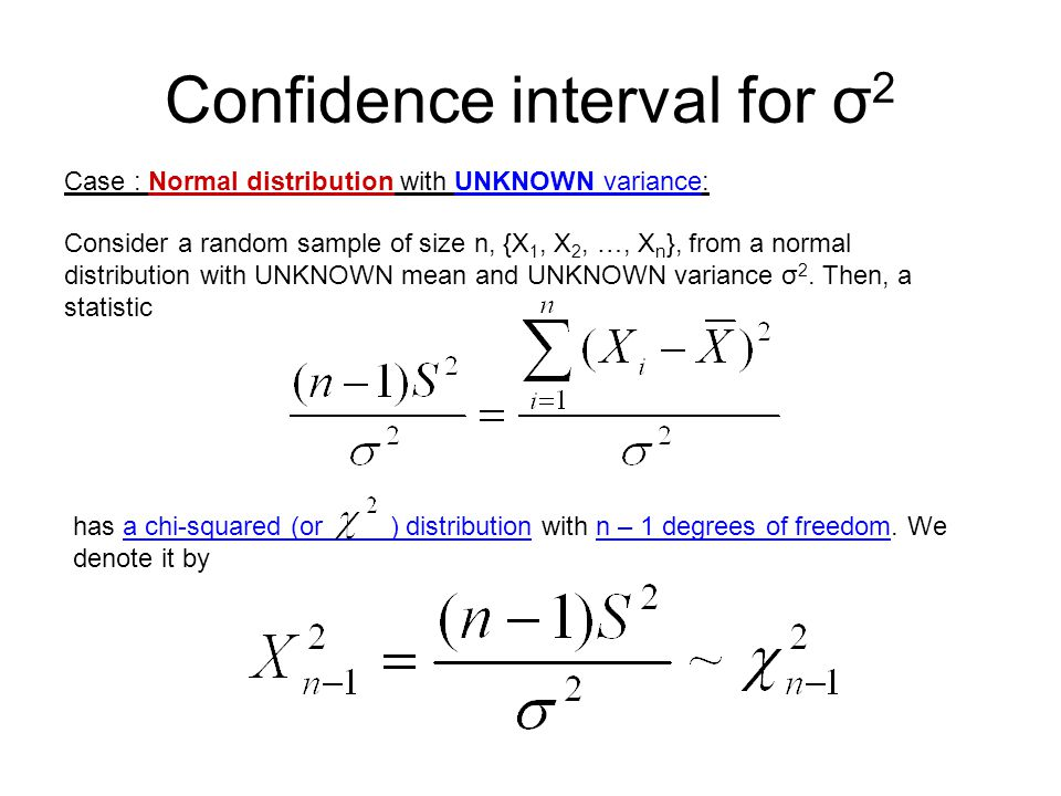 Confidence interval for σ2