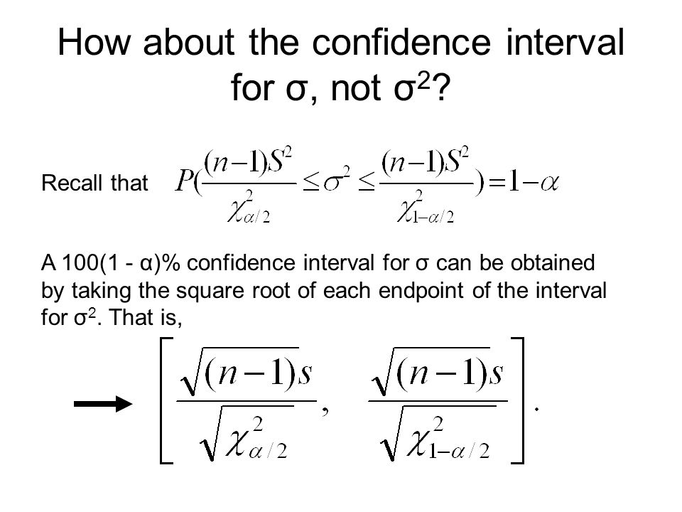 How about the confidence interval for σ, not σ2