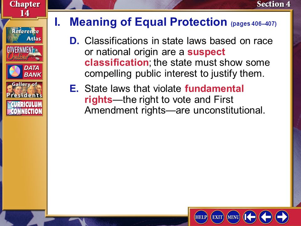 I. Meaning of Equal Protection (pages 406–407)