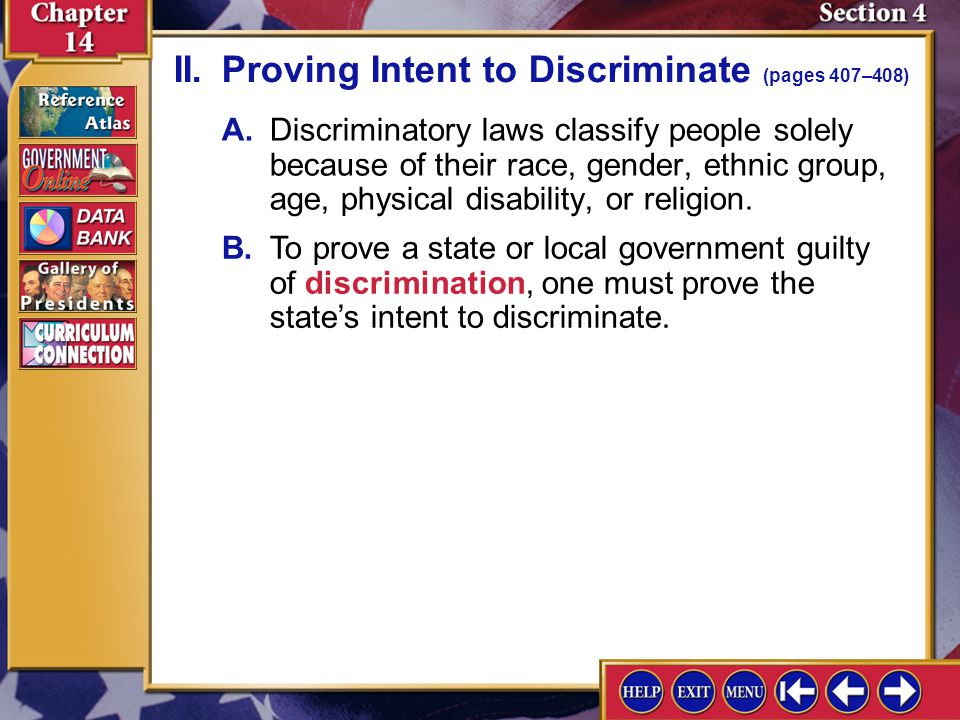II. Proving Intent to Discriminate (pages 407–408)