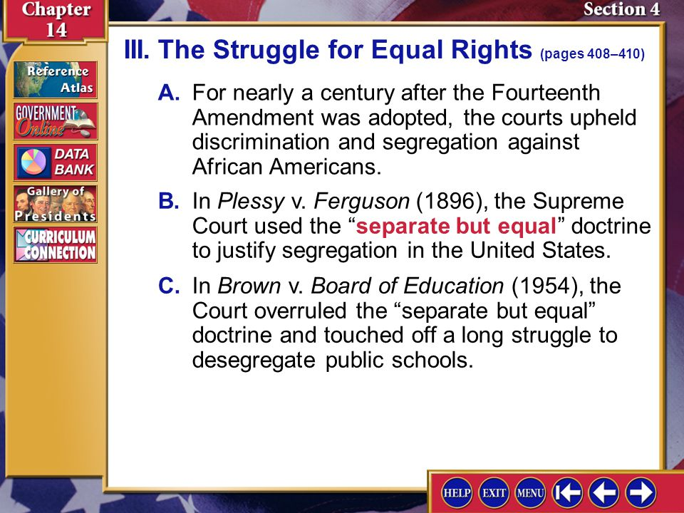 III. The Struggle for Equal Rights (pages 408–410)