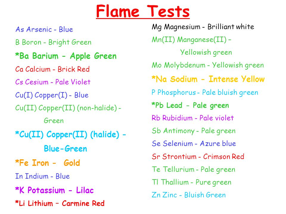 Flame Tests *Ba Barium - Apple Green *Na Sodium - Intense Yellow