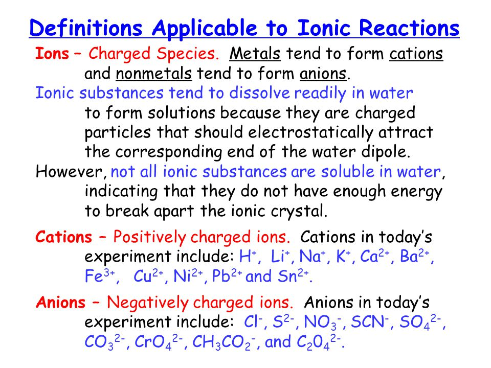 Definitions Applicable to Ionic Reactions