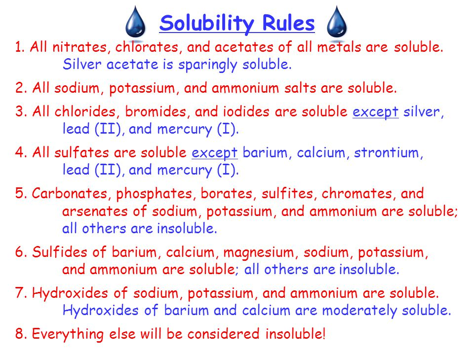 Solubility Rules 1. All nitrates, chlorates, and acetates of all metals are soluble. Silver acetate is sparingly soluble.
