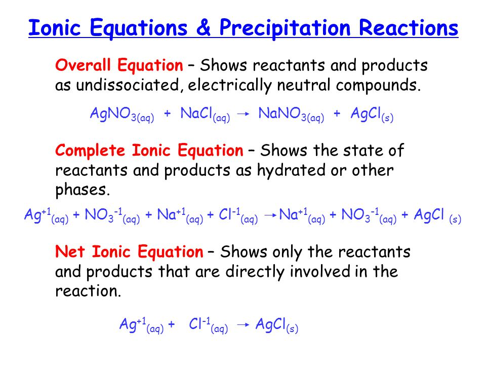 Ionic Equations & Precipitation Reactions