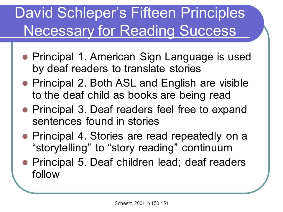David Schleper's Fifteen Principles Necessary for Reading Success