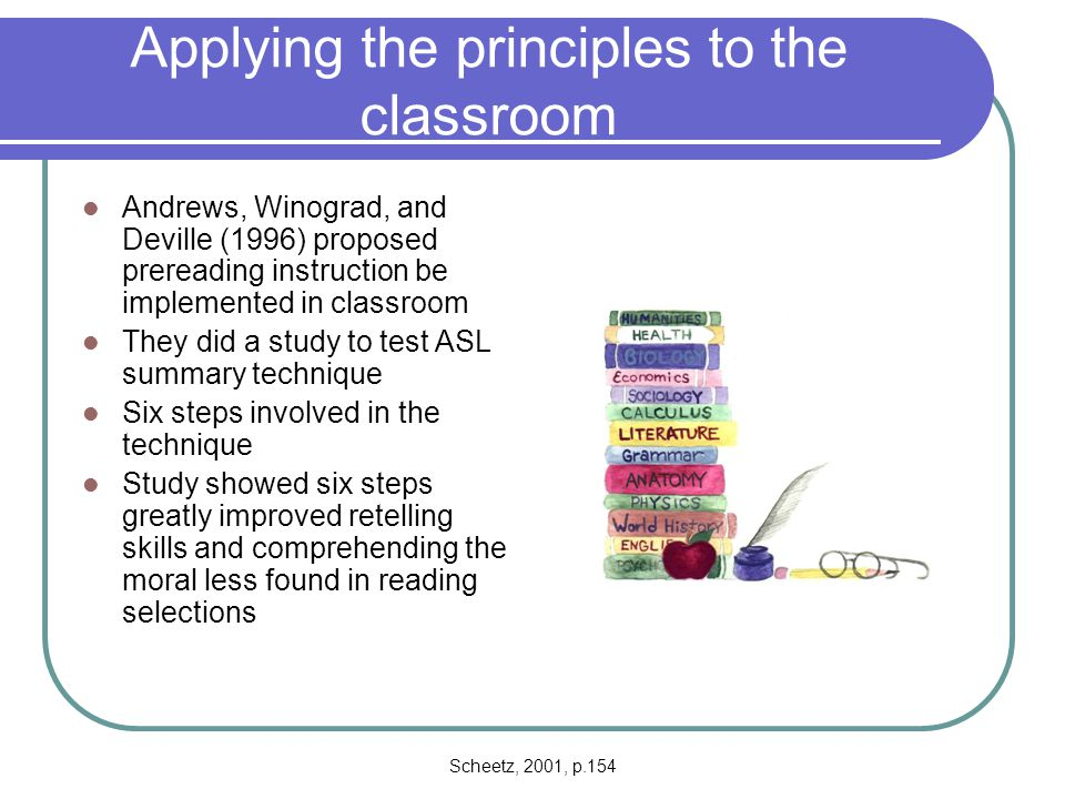 Applying the principles to the classroom