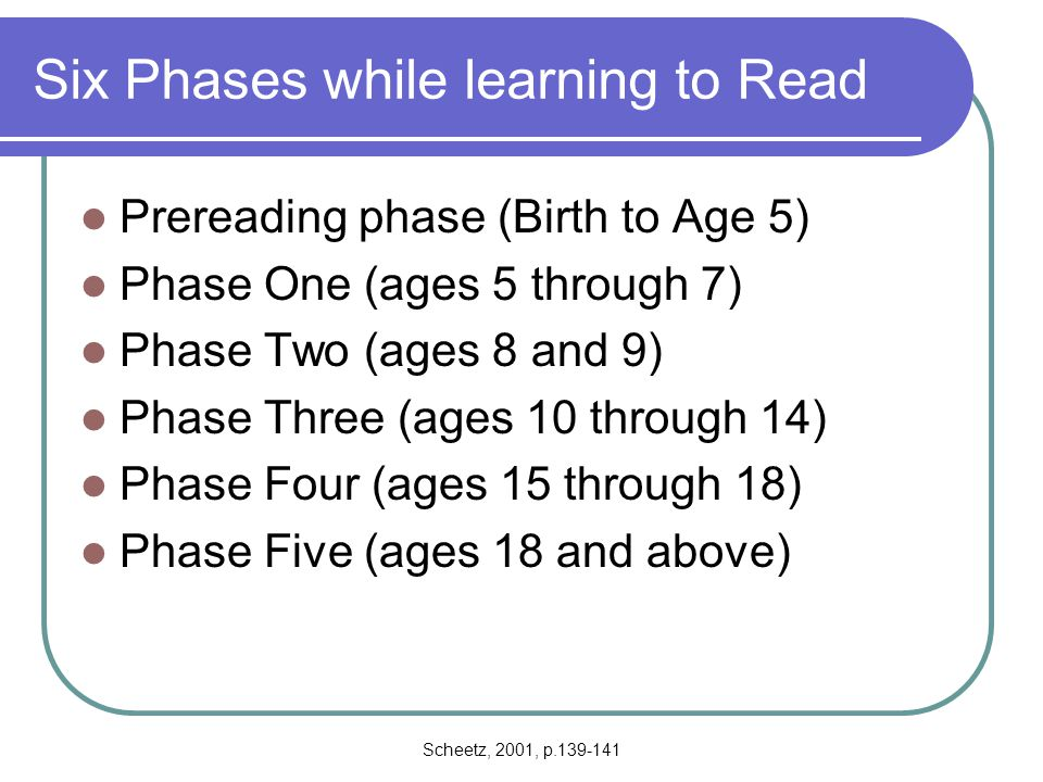 Six Phases while learning to Read