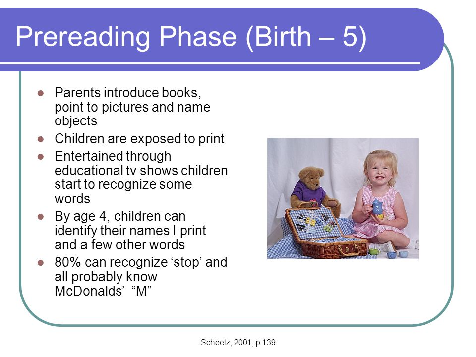Prereading Phase (Birth – 5)