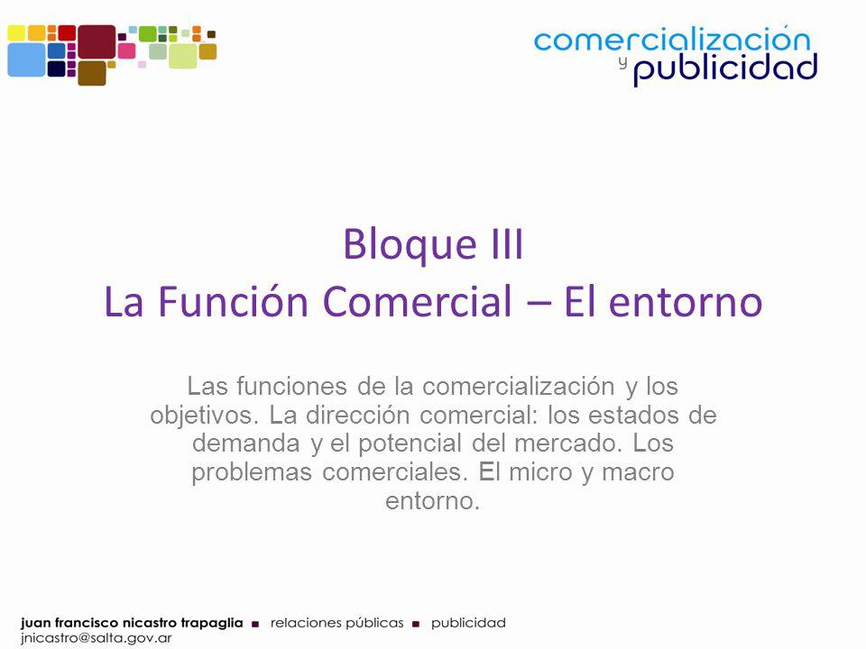 Bloque III La Función Comercial – El entorno