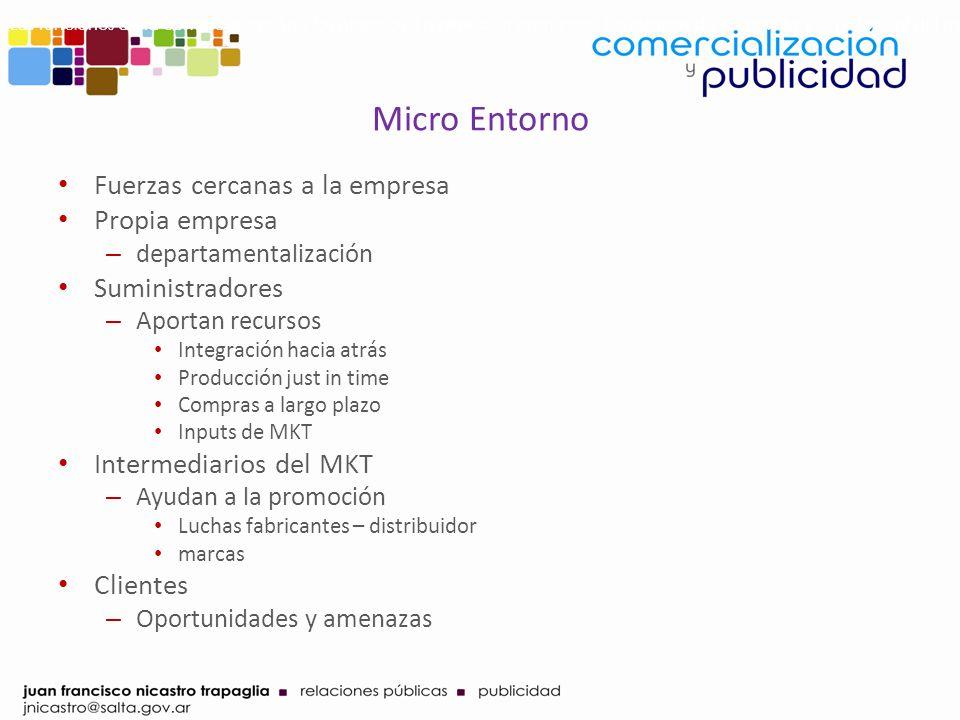 Micro Entorno Fuerzas cercanas a la empresa Propia empresa