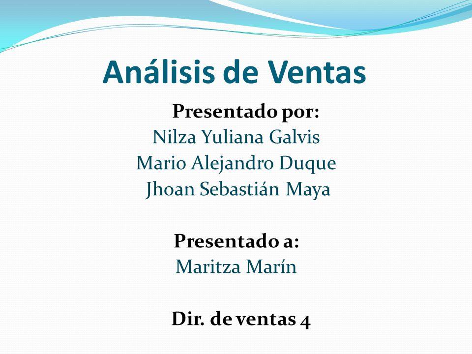 Análisis de Ventas Presentado por: Nilza Yuliana Galvis