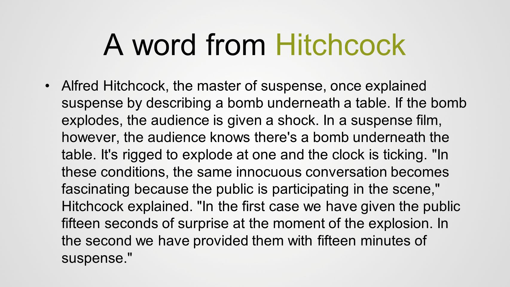 A word from Hitchcock