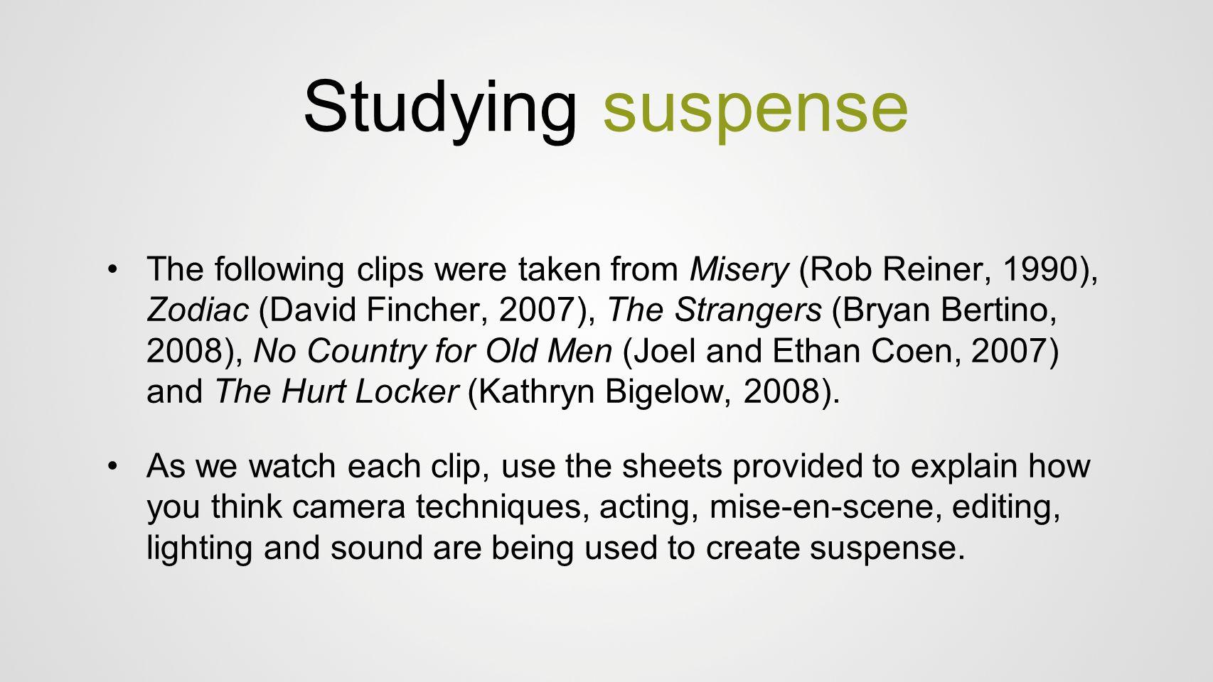 Studying suspense