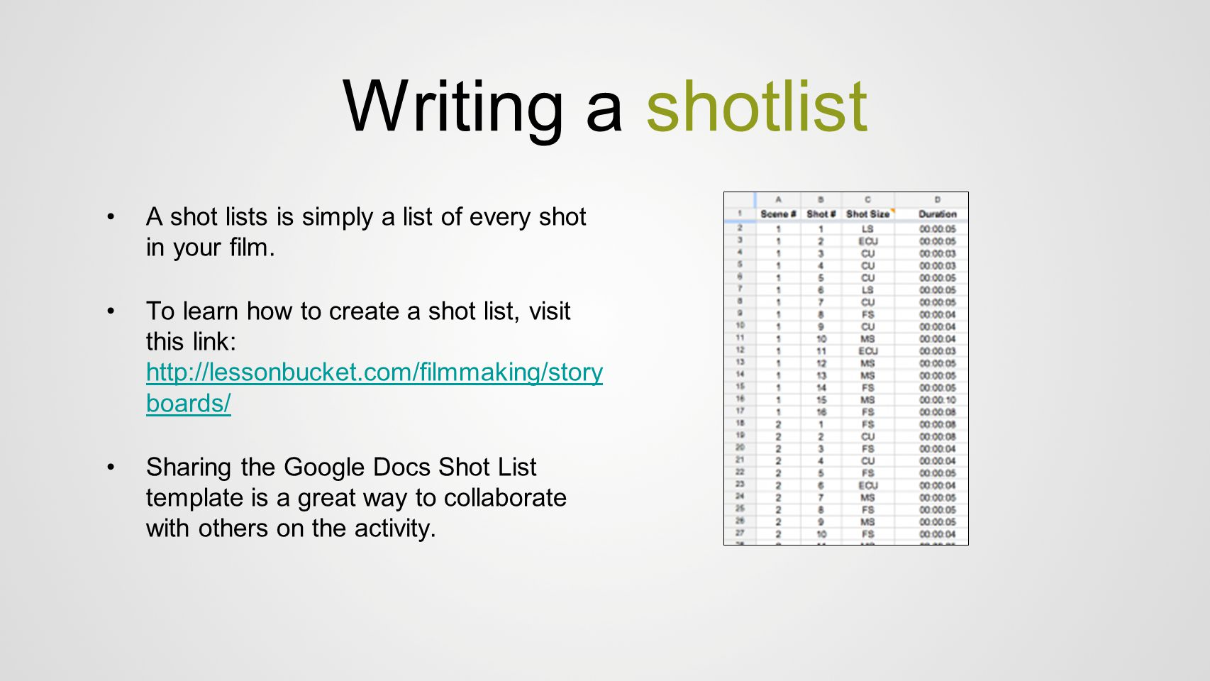 Writing a shotlist A shot lists is simply a list of every shot in your film.