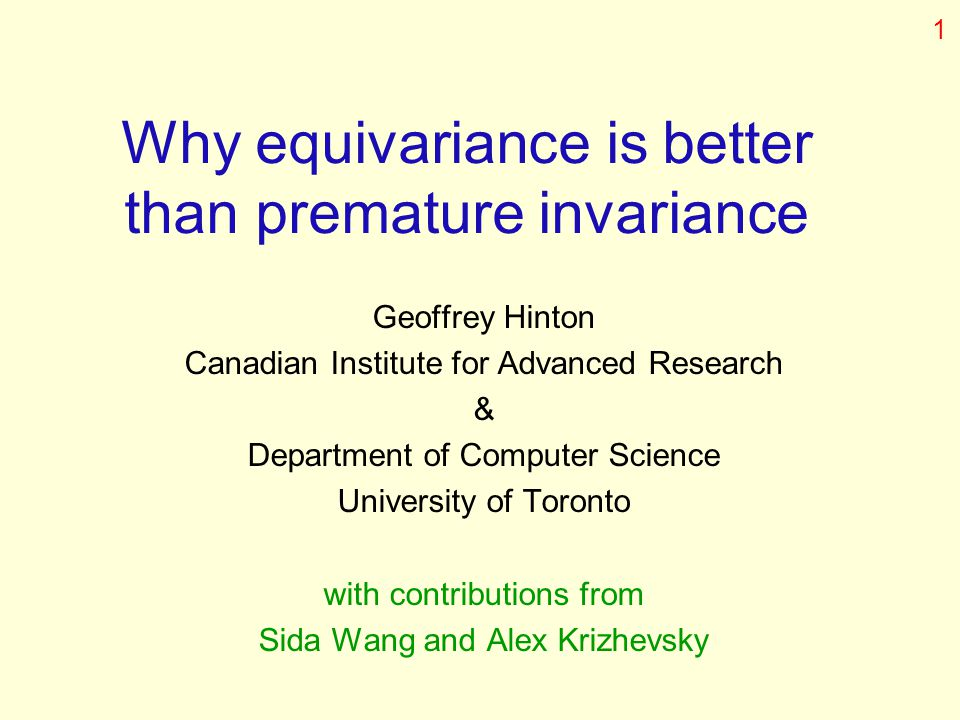 Why equivariance is better than premature invariance