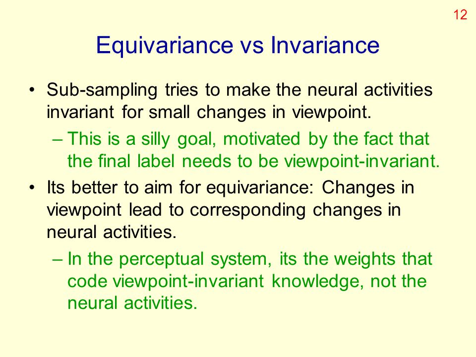 Equivariance vs Invariance