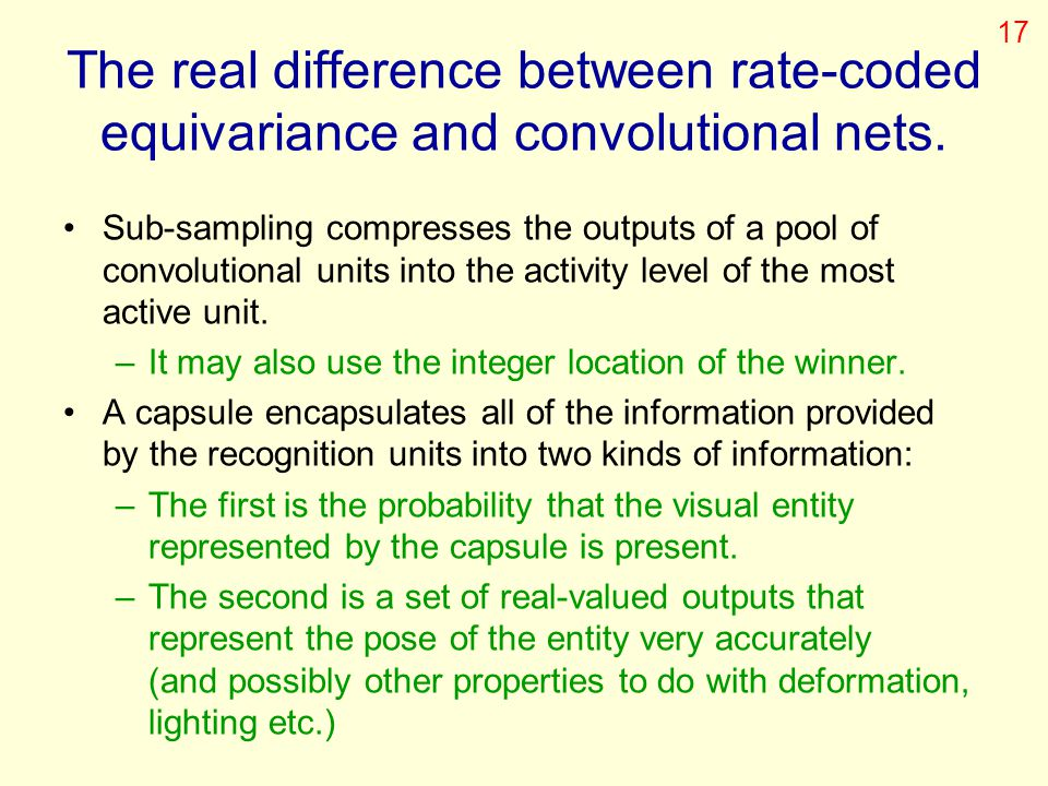 17 The real difference between rate-coded equivariance and convolutional nets.