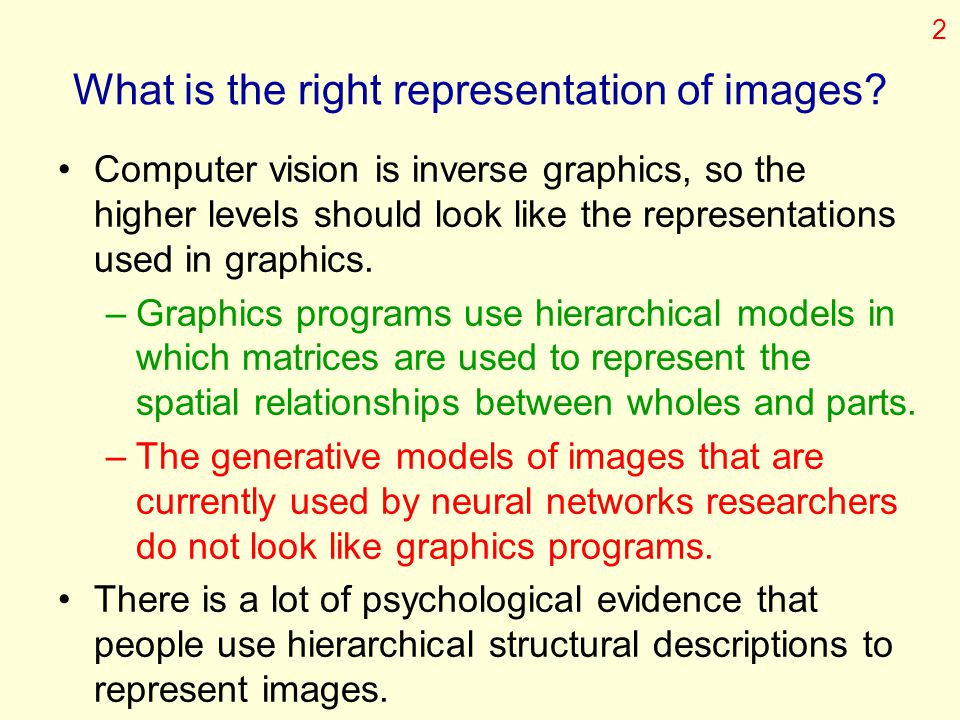 What is the right representation of images