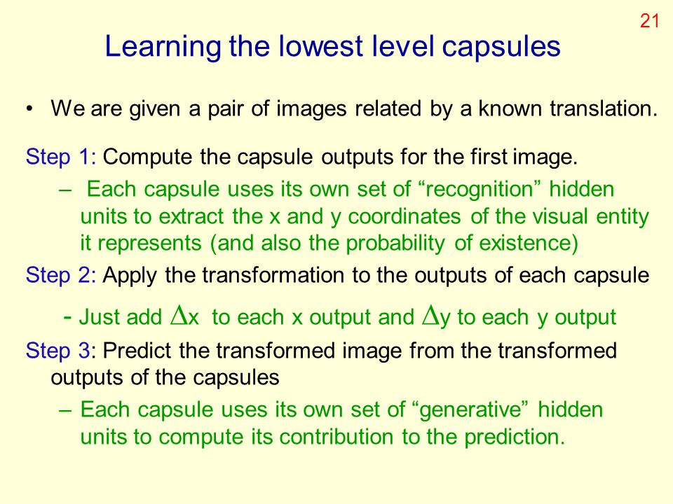 Learning the lowest level capsules