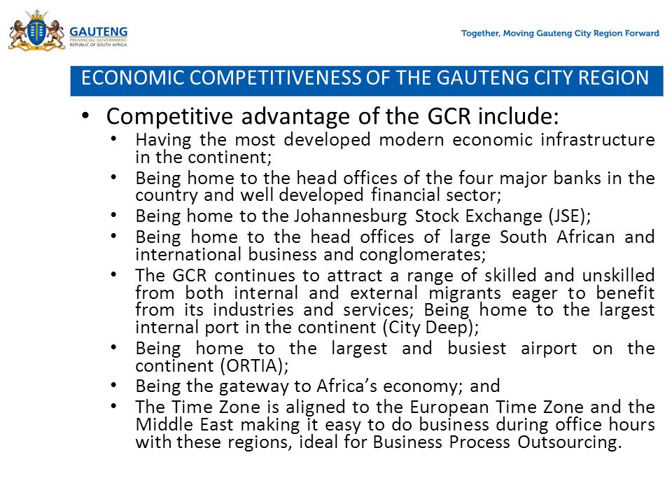 ECONOMIC COMPETITIVENESS OF THE GAUTENG CITY REGION