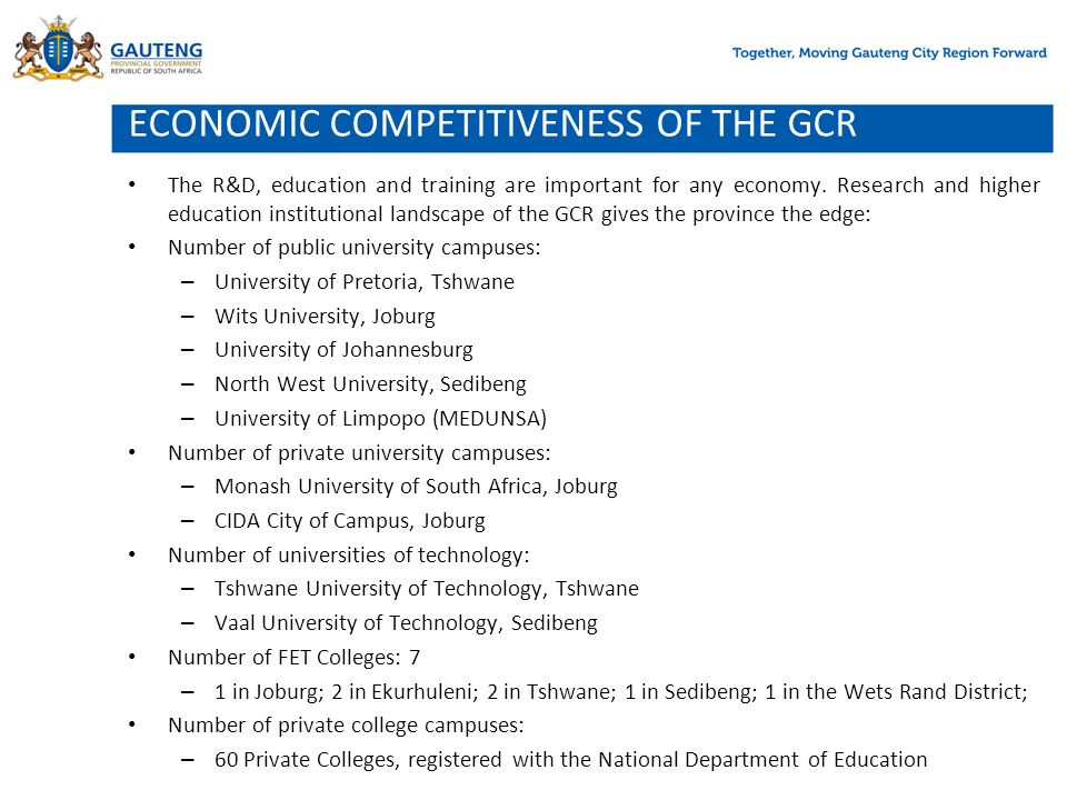 ECONOMIC COMPETITIVENESS OF THE GCR