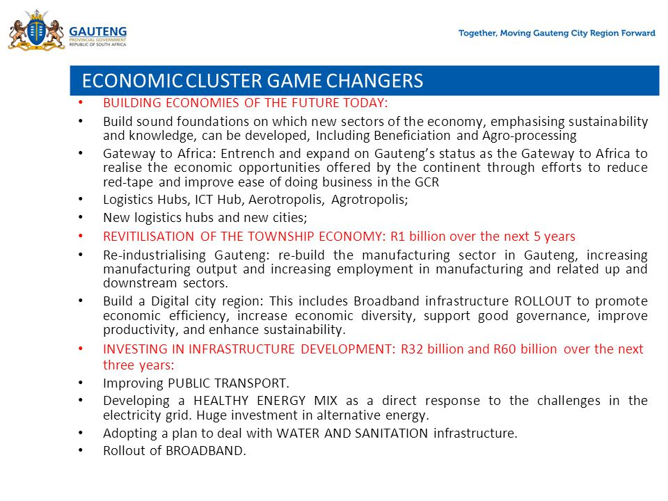 ECONOMIC CLUSTER GAME CHANGERS