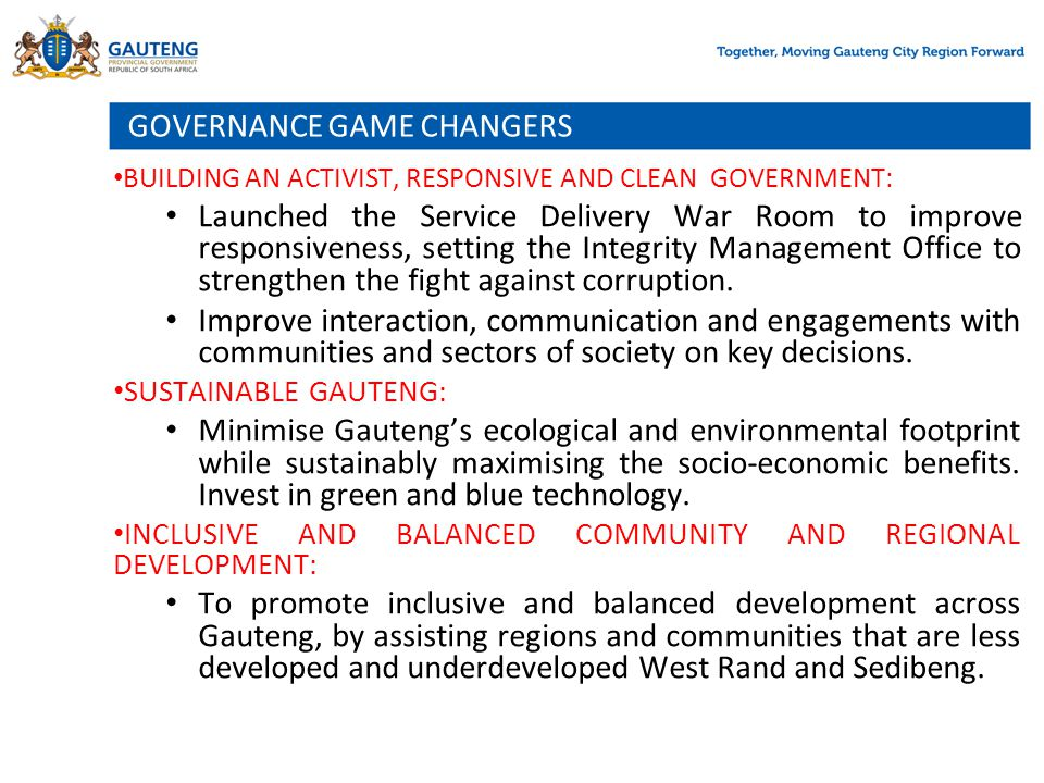 GOVERNANCE GAME CHANGERS