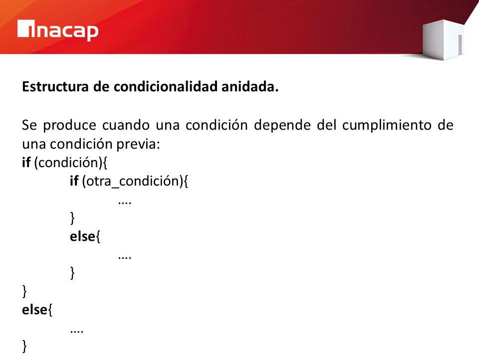 Estructura de condicionalidad anidada.