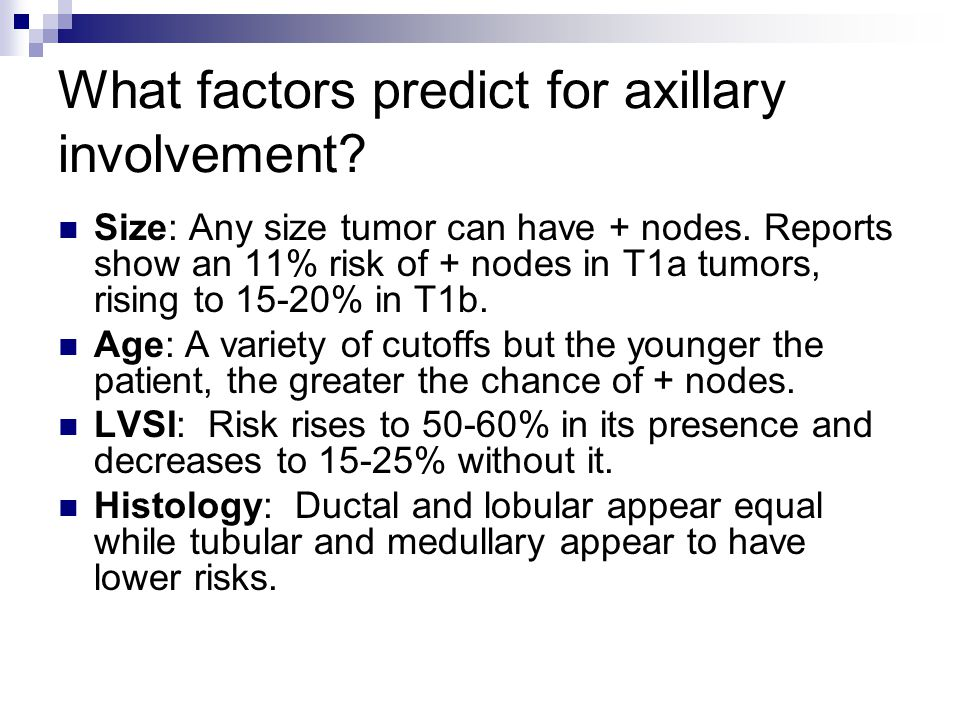 What factors predict for axillary involvement