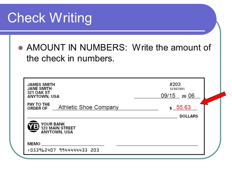 Check Writing AMOUNT IN NUMBERS: Write the amount of the check in numbers. 09/15 06. Athletic Shoe Company.