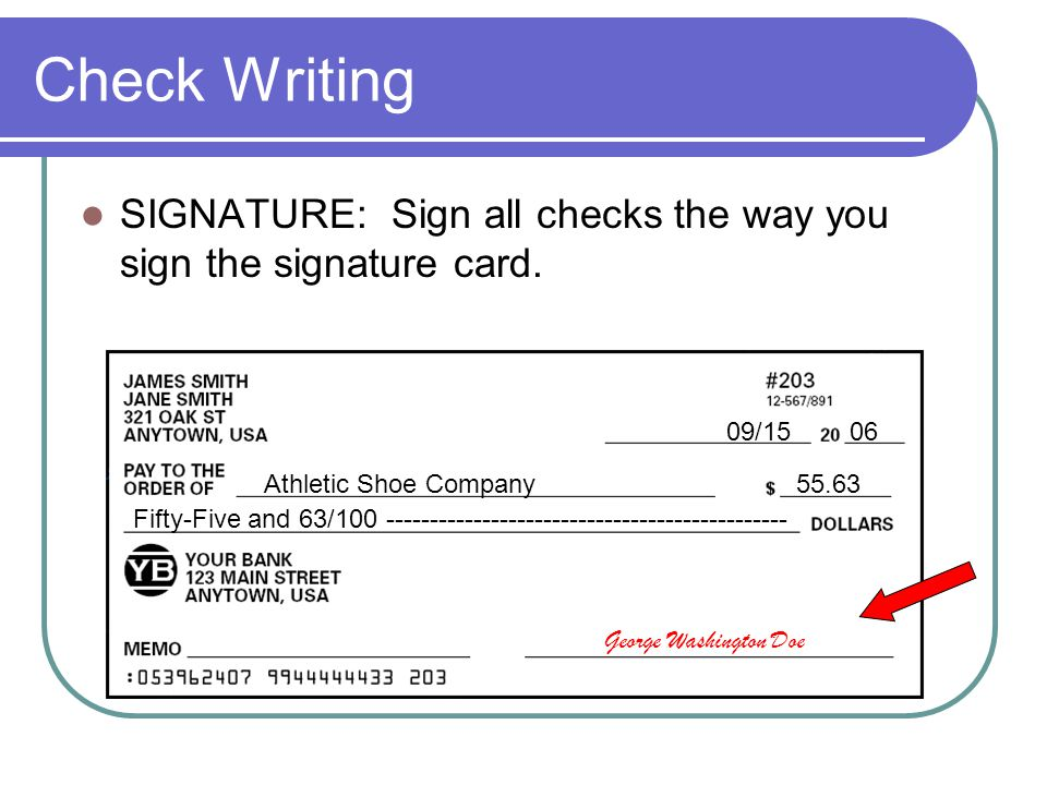 Check Writing SIGNATURE: Sign all checks the way you sign the signature card. 09/15 06. Athletic Shoe Company.
