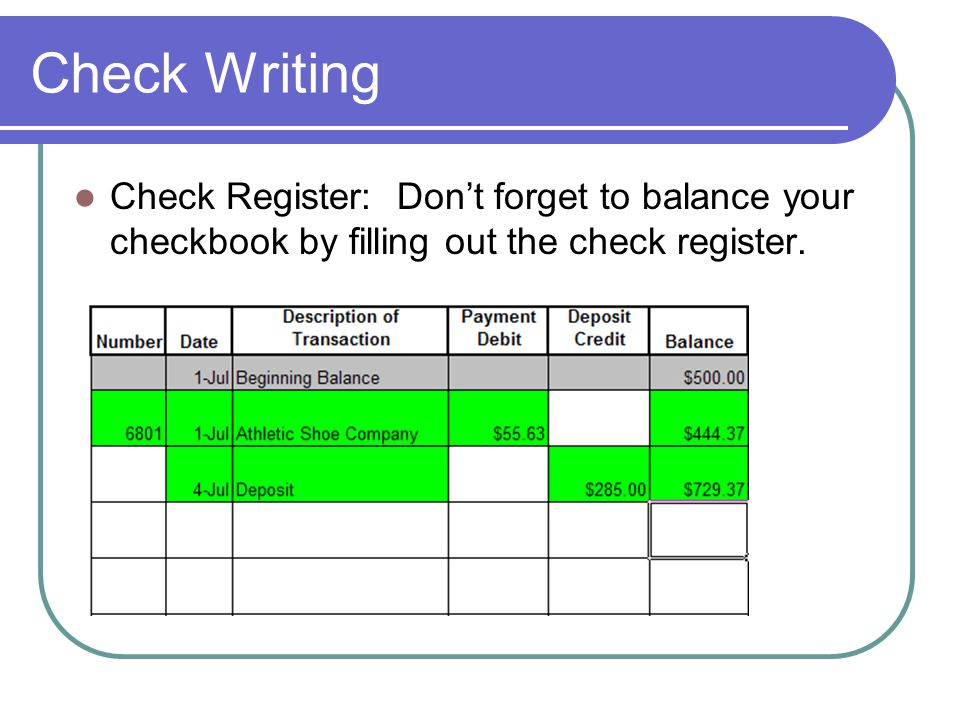Check Writing Check Register: Don't forget to balance your checkbook by filling out the check register.