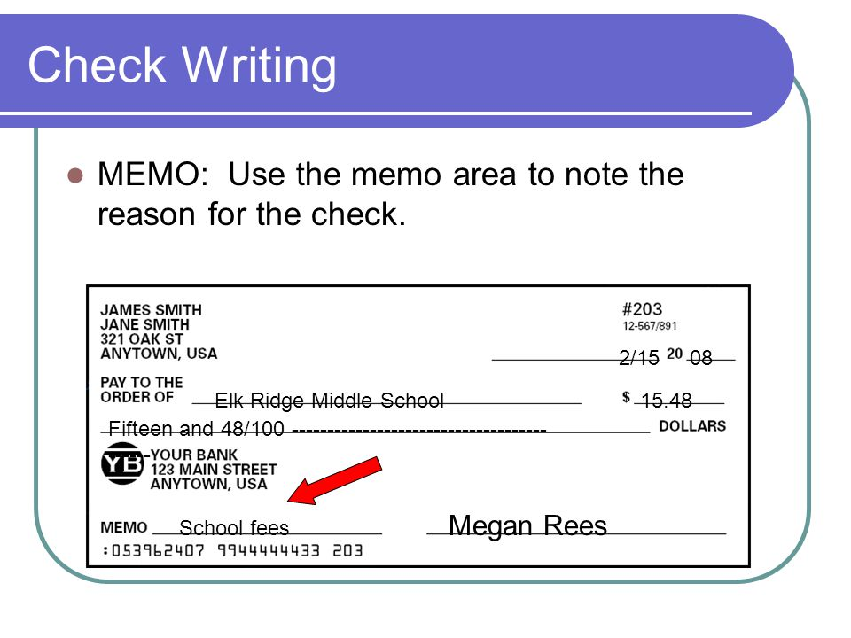 Check Writing MEMO: Use the memo area to note the reason for the check. 2/15. 08. Elk Ridge Middle School.