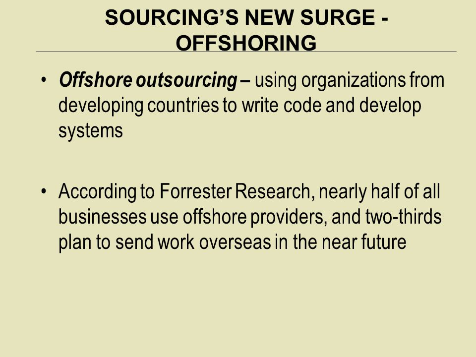 SOURCING'S NEW SURGE - OFFSHORING