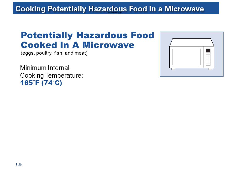 Cooking Potentially Hazardous Food in a Microwave Potentially Hazardous Food Cooked In A Microwave (eggs, poultry, fish, and meat) Minimum Internal Cooking Temperature: 165°F