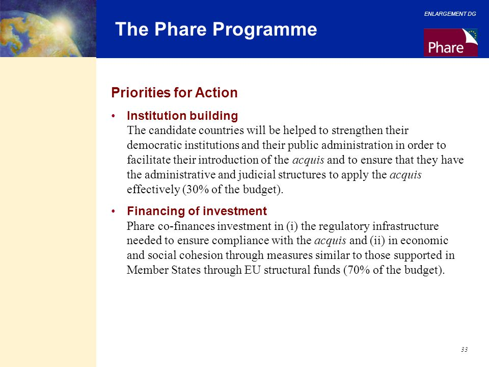 The Phare Programme Priorities for Action