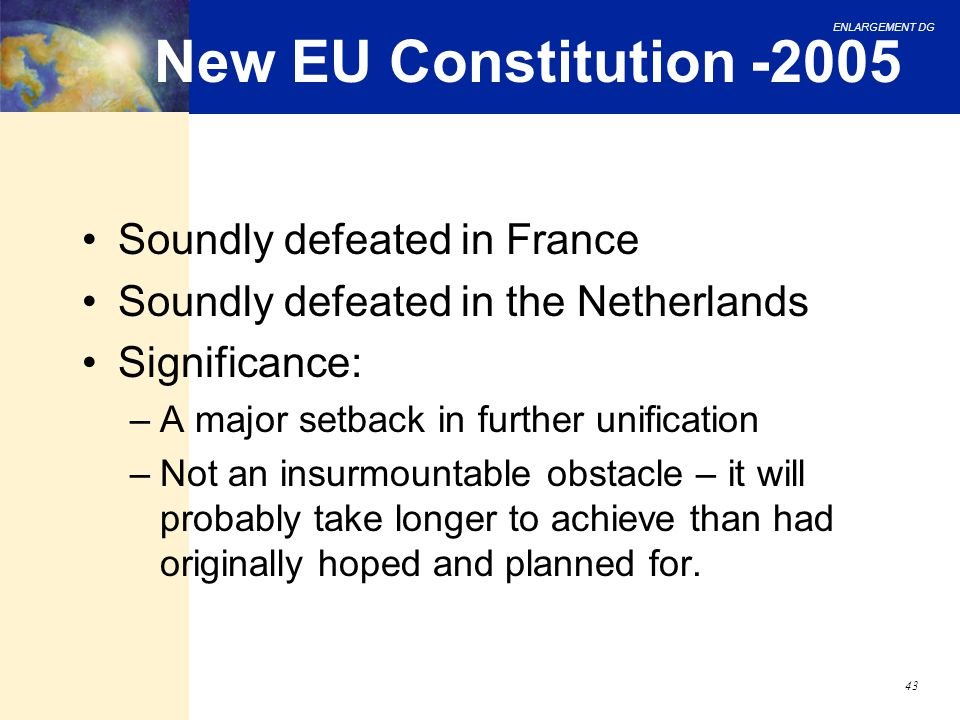 New EU Constitution -2005 Soundly defeated in France