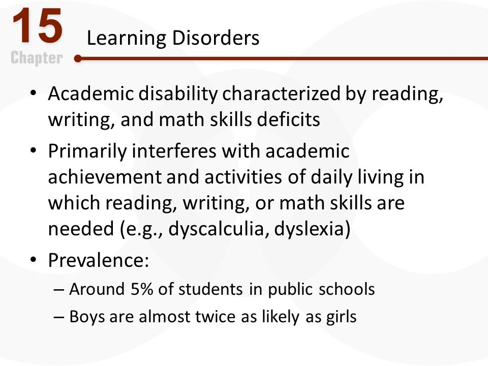 Learning Disorders Academic disability characterized by reading, writing, and math skills deficits.