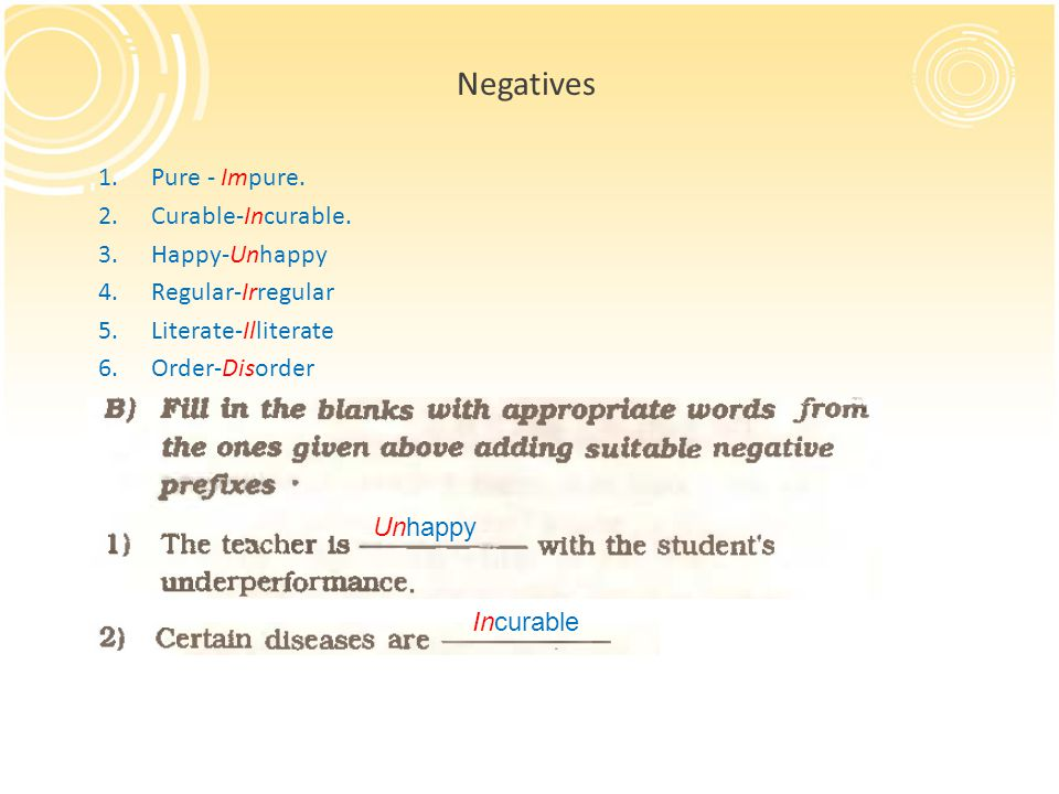 Negatives Pure - Impure. Curable-Incurable. Happy-Unhappy