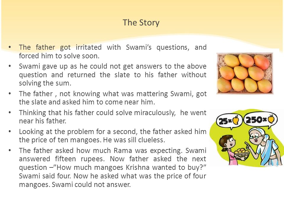 The Story The father got irritated with Swami's questions, and forced him to solve soon.